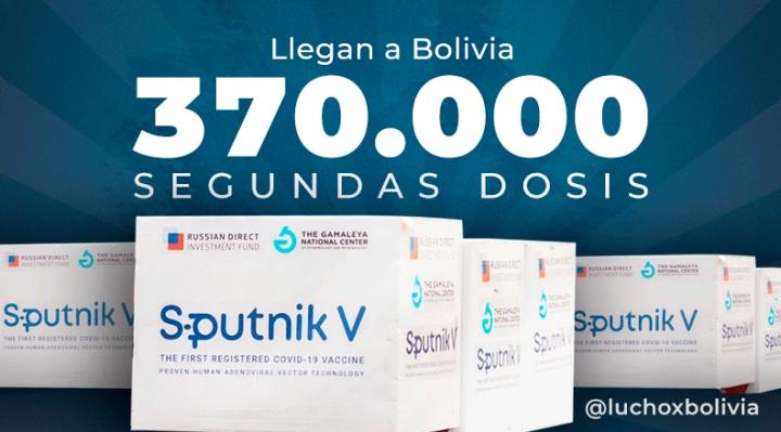 Arce anuncia la llegada de 370 mil dosis Sputnik-V, pide a Gobiernos subnacionales acelerar la vacunación