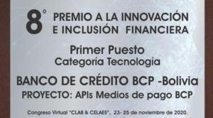El BCP es premiado por el CLAB-FELABAN por su innovación en el área digital de servicios bancarios