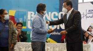 El presidente Luis Arce inicia el pago del Bono Contra el Hambre 1