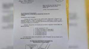 Defensa de Terceros informa que acudirá a peritajes internacionales para demostrar que la carta es falsa