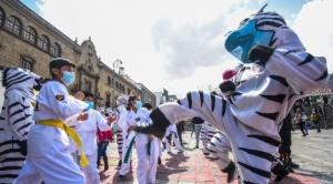 En el Día del Peatón las cebras animaron a los más pequeñitos con bailes y juegos
