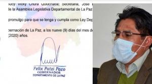 Patzi promulga ley que autoriza uso del dióxido de cloro contra la COVID-19